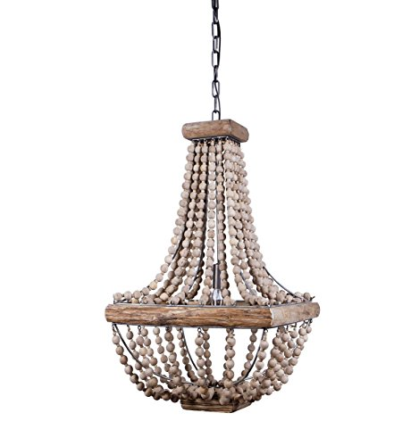 Bead Chandelier - Creative Co-Op DA1910 Wood & Metal Framed Chandelier with Wood Bead Draping