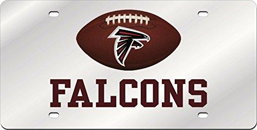 - Atlanta Falcons FOOTBALL Deluxe Silver Laser Cut Acrylic Inlaid License Plate Tag