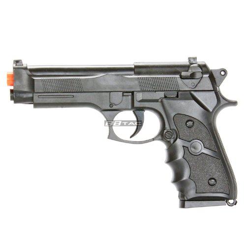 BBTac M757 Black Airsoft 150 FPS Spring Pistol with Molded Ergonomic Hand Grips