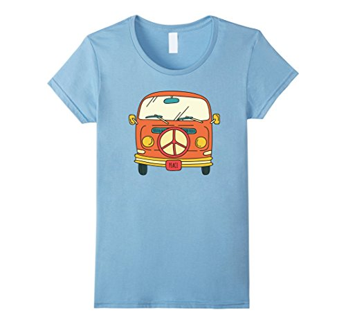 60s 70s Fashion (Womens Retro vintage Hippie Bus / Van T-Shirt - Peace 60s & 70s Small Baby Blue)