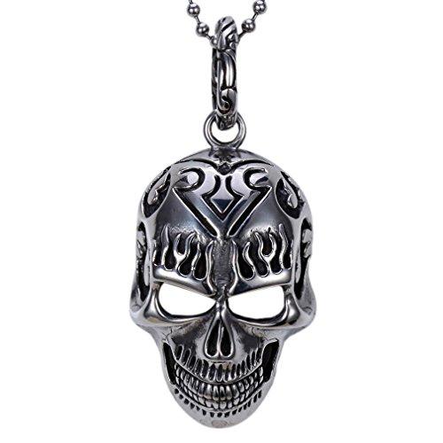 Zovivi Mens Vintage Black Stainless Steel Skull Tatto Flaming Mask Pendant Necklace]()