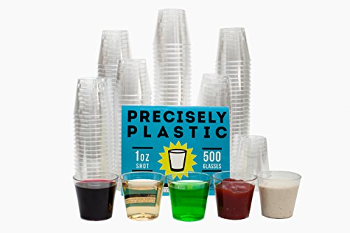 Shot Glasses Premium 1oz Clear Plastic Disposable Cups 500 ct VALUE PACK, Perfect Container for Jello Shots, Condiments, Tasting, Sauce, Dipping, Samples