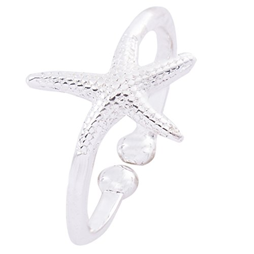 METTU Lovely Sea Style Starfish Ring Open Adjustable Rings for Girls (Silver)