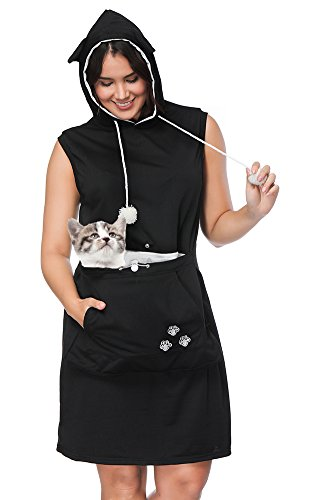 Womens Pet Carrier Dresses Kitten Puppy Holder Long Shirts Big Pouch Hood Tops by Jomago (Image #1)