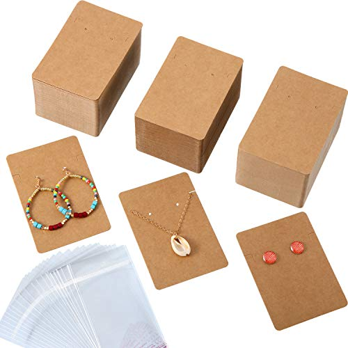 300 Pieces Necklace Earring Display Cards with 300 Pieces Self-Sealing Bags for Stud Earrings Dangle Earrings Pendant Earrings Necklace Chain (Kraft) (Brown Earrings Chain)