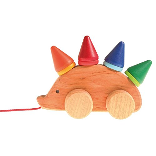 Wooden Stacking Cones (Grimm's Toddler Hedgehog - Natural Wood Pull Toy with 8 Colorful Cone & Disc Stackers)