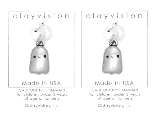 (2) Clayvision Happy Ghost Halloween Charms for Rubber