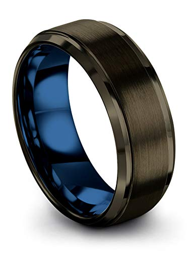 Chroma Color Collection Tungsten Carbide Wedding Band Ring 8mm for Men Women Blue Interior with Gunmetal Exterior Step Edge Brushed Polished Comfort Fit Anniversary Size 10