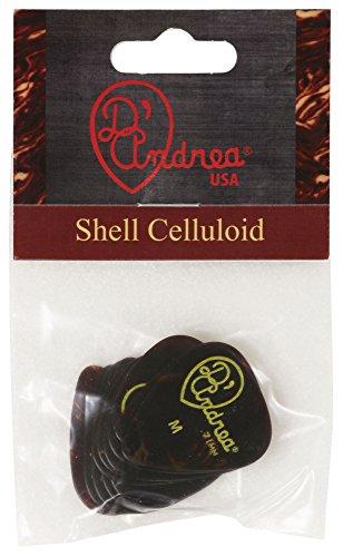 D'Andrea TG351, 0.71MD Celluloid Guitar Picks, 12-Piece, Shell, Medium