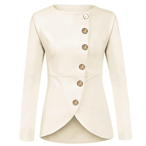 ELESOL Women Winter Warm Long Sleeve Slim Fit Cotton Casual Blazer Jacket White ()