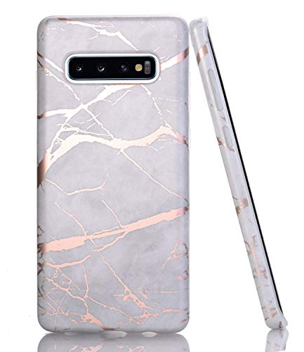BAISRKE Galaxy S10 Case, Shiny Rose Gold Gray Marble Design Slim Flexible Soft Silicone Bumper Shockproof Gel TPU Rubber Glossy Skin Cover Phone Case for Samsung Galaxy S10 6.1