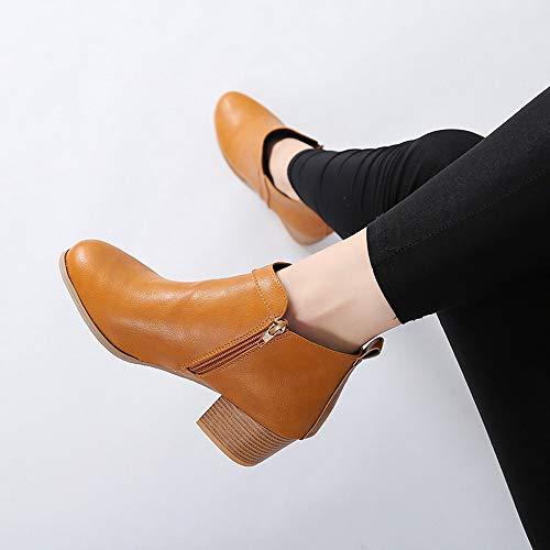 Botines Invierno Largo Mujer Alta De Color Plano Zapatos Botas Martin Sólido Negro Plana Ante Pierna returom Amarillo Casuales Otoño Altas Casual Mujer Largas Alto qIY6YX