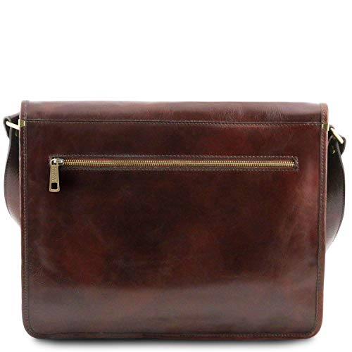 Amazon.com  Tuscany Leather - TL Messenger - Two compartments leather  shoulder bag - Large size Black - TL141254 2  Clothing 4e0147df1c397