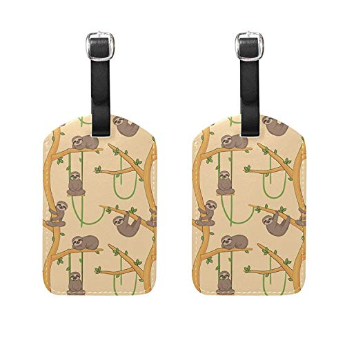 Set of 2 Luggage Tags Sloth On Tropical Tree Suitcase Labels
