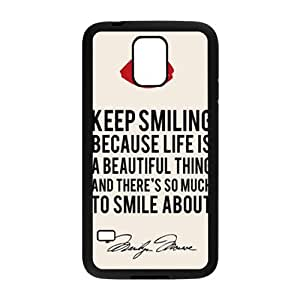 WEIWEI Marilyn Monroe Keep smiling Quote Cell Phone Case for Samsung Galaxy S5