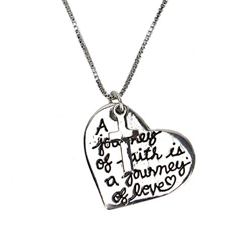 Buorsa Necklace with Heart Pendant and Cross A Journey of Faith is A Journey of Love Necklace Cross Pendant for Woman Teen Girls Inscribed God Jewelry ()