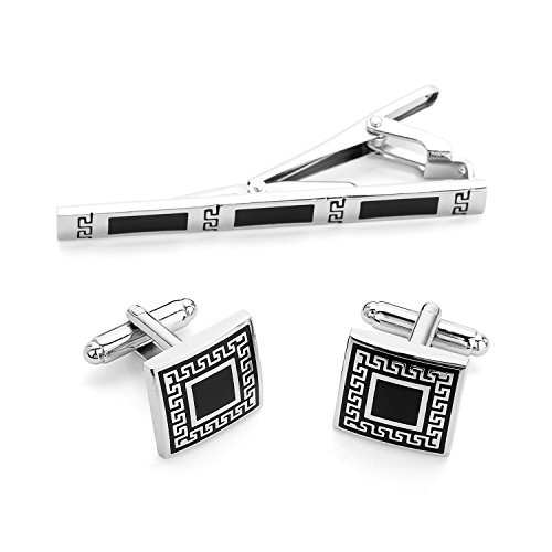EVEVIC Mens Cufflinks and Tie Clip Set Business Necktie Clip Tie Bar Shirt Suit Cuff Links (D-Style) by EVEVIC