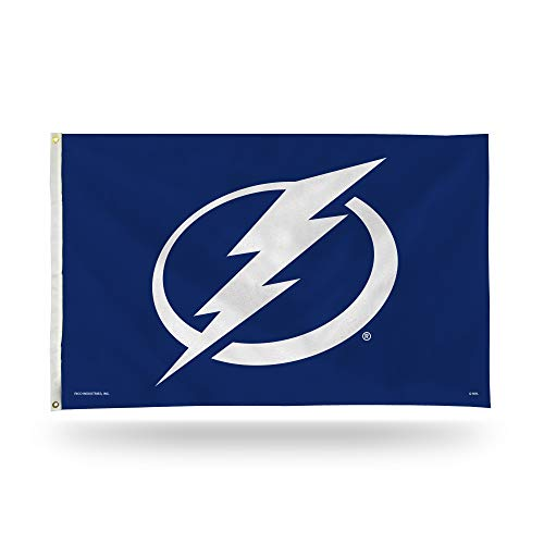 (Rico Industries NHL Tampa Bay Lightning 3-Foot by 5-Foot Single Sided Banner Flag with Grommets)