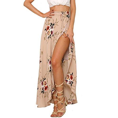 VANCOL Women's Sexy Print Irregular Beachwear Long Split Floral Skirts (S, Pink)
