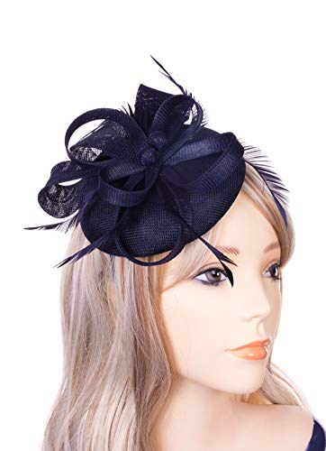 Women's Fascinator Hats Sinamay Pillbox Hat Feathers Veil Headband and a Forked Clip Tea Party Headwear for Girls Wedding Party Church Cocktail Derby Royal Banquet (Blue) ()