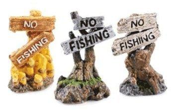 Ornament Aquarium Fishing (Underwater Kingdom Aquarium Ornament Classic No Fishing Sign)