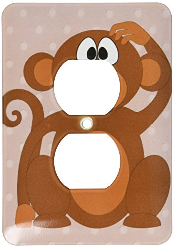(3dRose lsp_204017_6 Print of Adorable Monkey On Tan Dots 2 Plug Outlet Cover)