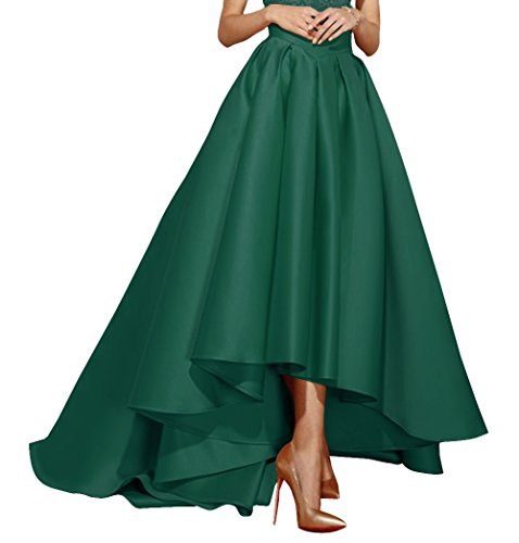 Emerald Gown - Fluorodine High Low Satin Skirt For Women High Waist Pleat A Line Dress US6 Emerald Green