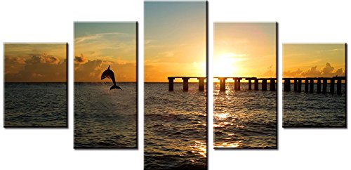 Wowdecor Canvas Prints 5 Pieces Multiple Pictures Wall Art - 5 Panels Cute Dolphin Giclee Pictures Painting Printed on Canvas, Posters Wall Decor Gift - UNFRAMED (Small)