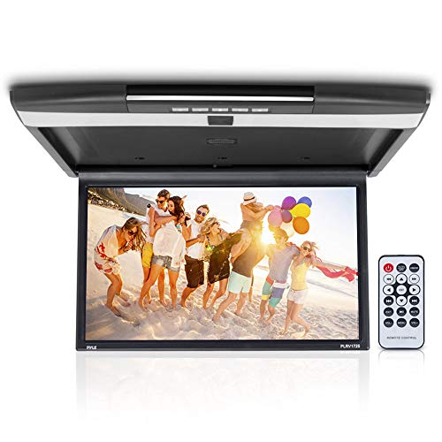 - Car Overhead Monitor Screen Display - 17.3 inch. LCD Vehicle Flip Down Roof Mount Console - HDMI TV Player Control Panel w/Built-in IR Transmitter for Wireless IR Headphone - Pyle PLRV1725