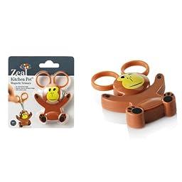 Zeal Monkey Mini Animal Character Kitchen Scissors with Magnetic Base / Fridge Magnet