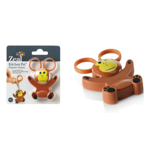 Zeal Monkey Mini Animal Character Kitchen Scissors with Magnetic Base / Fridge Magnet