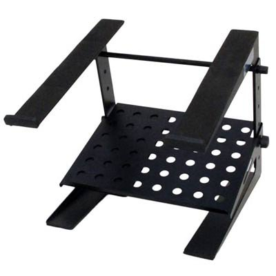 Seismic Audio - COMS3 - Table Top or Desk Laptop Stand with Shelf - Adjustable Height and Width - Steel rack for Laptop Computer, Keyboard, (9 Dj Rack)