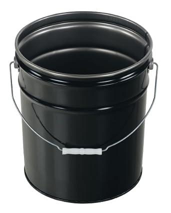 Vestil PAIL-STL-RI-UN Steel Pail with Handle, 5 gallon Capacity, Black