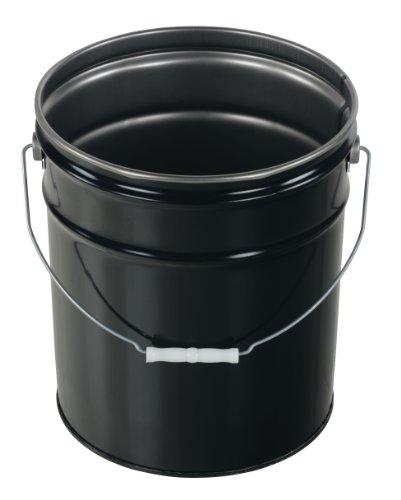 Vestil PAIL-STL-RI-UN Steel Pail with Handle, 5 gallon Capacity, Black (Pail Steel)
