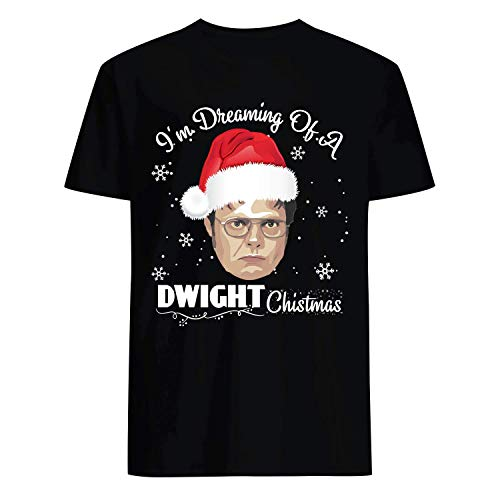 USA 80s TEE I'm Dreaming of A Dwight Christmas Shirt Black]()