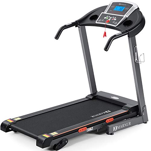 MARNUR Electric Treadmill Foldable 17″ Wide Running Machine 3 Levels Manual Incline 2.5 HP Power 15 Preset Program Easy Assembly Max Speed 8.5 MPH with Large Display & Cup Holder for Home Use