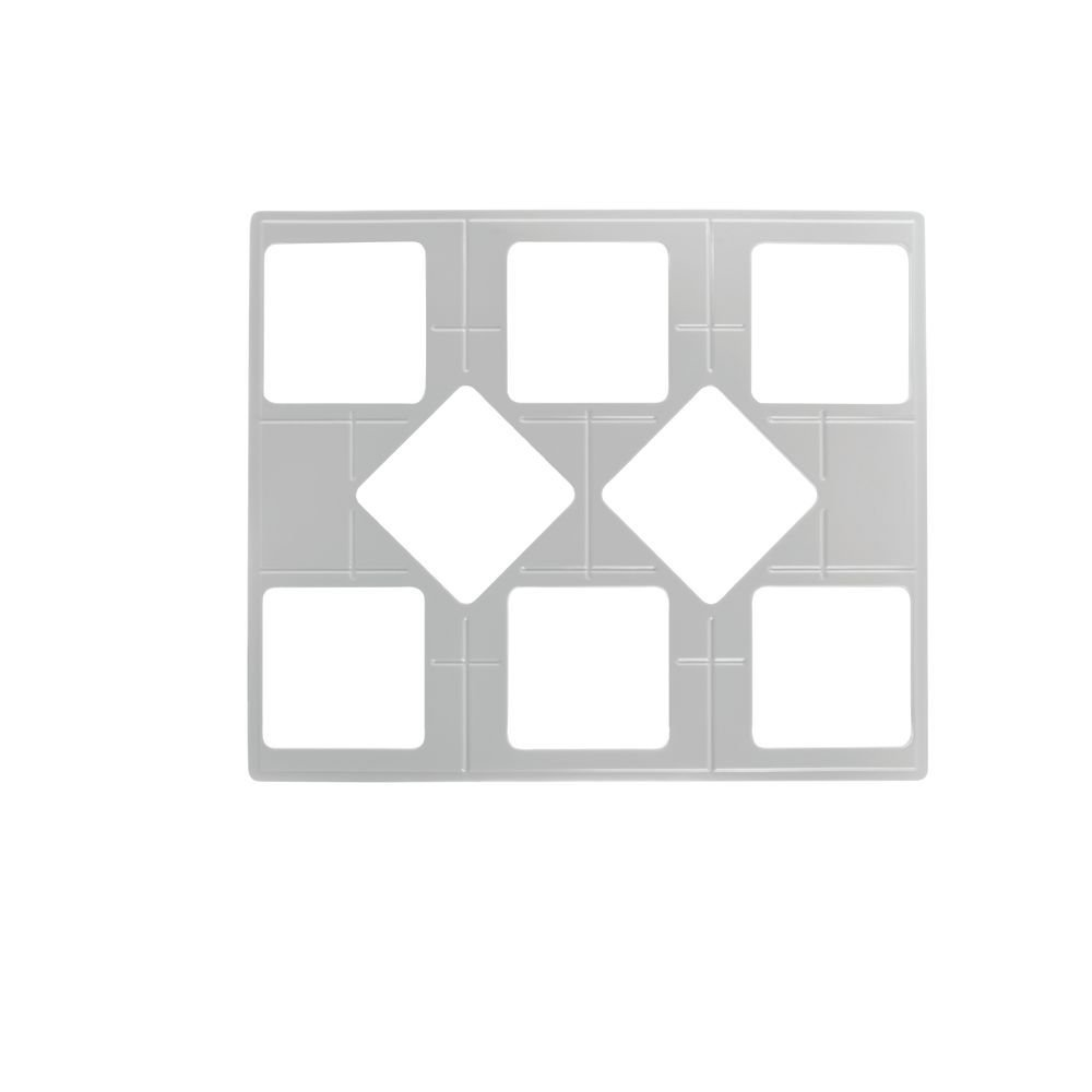 """Food Display Tiles, Full Double-Size White Melamine Square Garnish Bowl Cut-Out - 21 1/2""""L x 25 1/2""""W"""