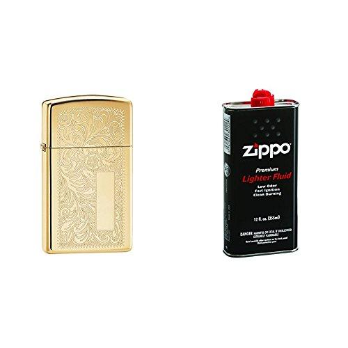 (Zippo Venetian Slim High Polish Brass Pocket Lighter with 12 oz Lighter Fluid)