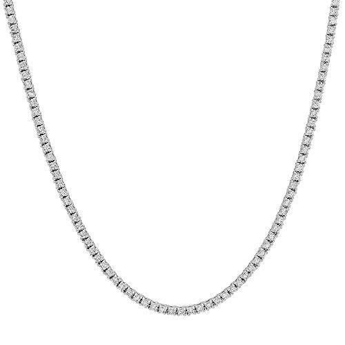 Diamond Necklace Gold Tennis White - Dazzlingrock Collection 3.01 Carat (ctw) 14K Round Cut Diamond Tennis Necklace, White Gold