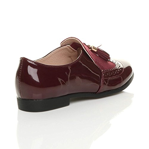 Ladies Vintage Flat Low Lavoro Taglia Heel Brogue Scarpe Ajvani Stile Borgogna Da Brevetto Intelligenti Nappa d5wYadqt
