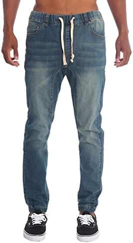 Victorious Mens Drop Crotch Jogger Denim Pants JG803