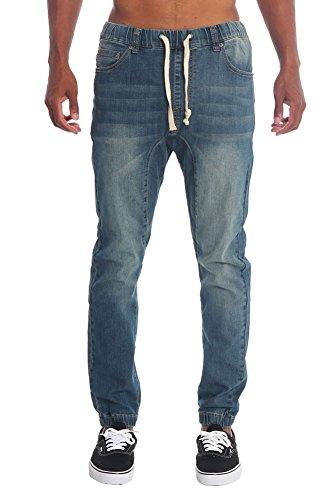 Victorious Mens Drop Crotch Jogger Denim Pants JG803 - Vintage - Small