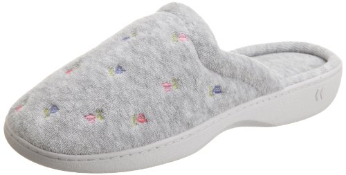 Isotoner Women's Terry Embroidered Scalloped Clog, Heather Grey, 7.5/8