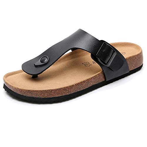 (Real Fancy Men's Thong Footbed Flat Flip-Flops Cork Leather Sandals with Adjustable Buckle Strap Soft Cow Suede Open Toe Slippers Black)