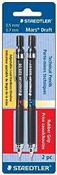 Staedtler Mars Draft Tech Pencil, 4H/3H/2H/H/F/HB/B, 0.5/0.7 mm, Black Barrel, 2 per Pack (925ASBK2)