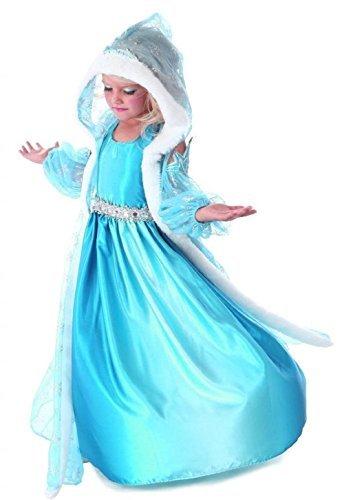 GenialES Disfraz de Vestido Princesa con Capa Capuchada Mangas Azul Estampadas de Copos de Nieve para Niñas 4-5 años: Amazon.es: Ropa y accesorios