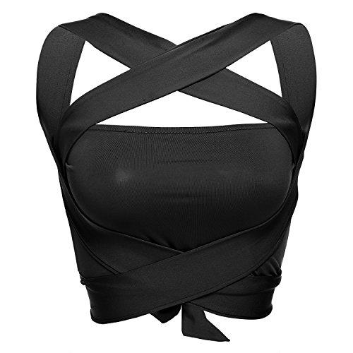 Crop Top,Cut Out Bra Criss Cross Women Halter Bandage V-neck, Casual Club Wear