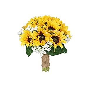SweetHomeDeco Silk Sunflower Baby's Breath Mixed Wedding Bridal Bridesmaid Bouquet Boutonniere for All Season (Yellow-8''W Bouquet) 23