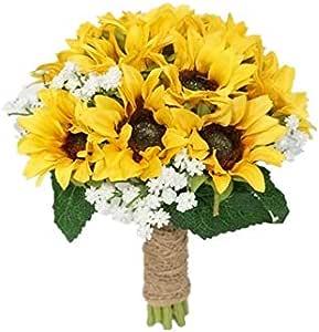 Sunflower Baby/'s Breath Ivy Bridal Bouquet