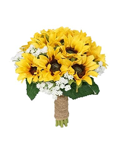 SweetHomeDeco Silk Sunflower Baby's Breath Mixed Wedding Bridal Bridesmaid Bouquet Boutonniere for All Season (Yellow-8''W Bouquet)